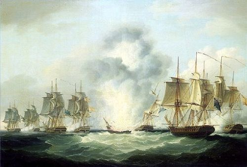 four_frigates_capturing_spanish_treasure_ships_5_october_1804_by_francis_sartorius_national_maritime_museumuk